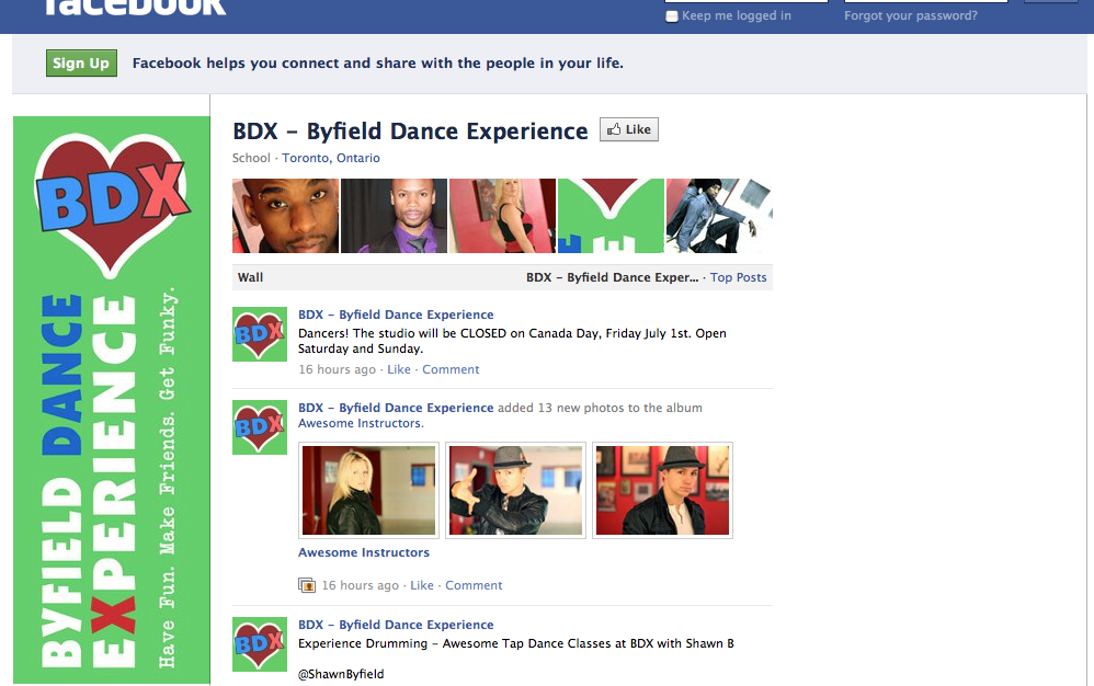 LIKE Our Facebook Fan Page! – Toronto Adult Dance Classes at Byfield