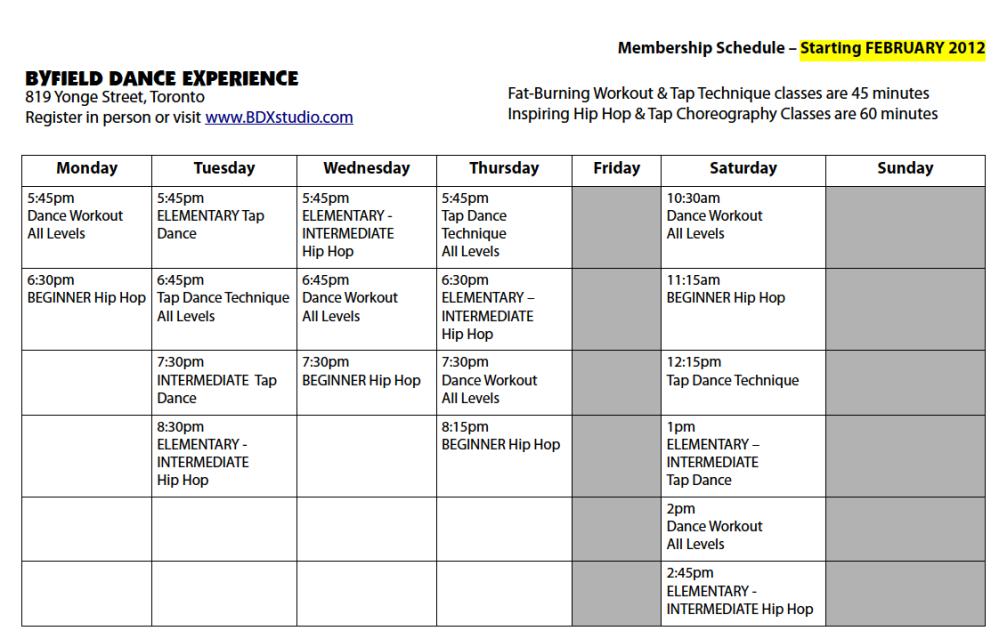 BDX Toronto Dance Class Schedule