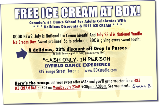 Toronto dance studio BDX gives free ice cream