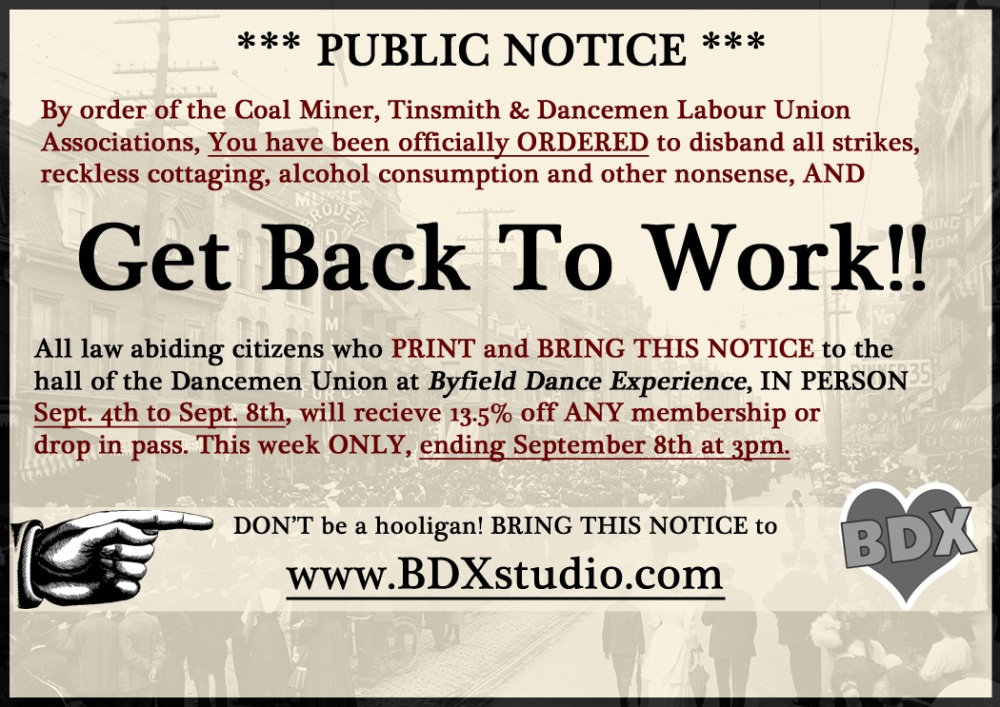 "Toronto dance studio says ""Get Back To Work"""